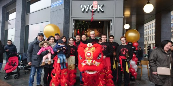 Lion dance opening restaurant